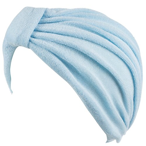 (Head Cover for Ladies/Cap - Great for Women with Cancer Chemo Therapy – Terry with Knote Light Blue)