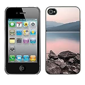 LASTONE PHONE CASE / Carcasa Funda Prima Delgada SLIM Casa Carcasa Funda Case Bandera Cover Armor Shell para Apple Iphone 4 / 4S / Nature Calm Lake