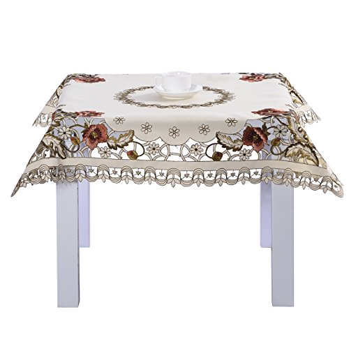 - Luxury cutwork handmade embroidery floral jacquard table cloths cover square 22 inch approx