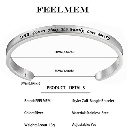 FEELMEM Stepdaughter Bangle DNA Doesn't Make You Family Love Does Cuff Bangle Bracelet,Family Jewelry Gift for Adopted Child Step Child Stepdaughter (DNA Doesn't.-Silver) by FEELMEM (Image #1)
