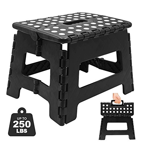 Folding Step Stool, Super Strong Plastic 9 inch Step Stool for Kids and Adults with Handles, Black