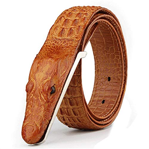 Elibone Mens Belts Luxury cow Leather Designer Belt Ceinture Homme Cinto Masculino Luxo Crocodile Cinturones Hombre Brown 125cm