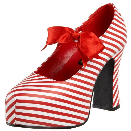 Candycane Women's Color UK Platform Mary Jane 9 White Size Stripe by 48 Red Pleaser Funtasma nTtRZR