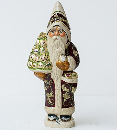 Vaillancourt Chalkware Santa - Brocade Santa with Pyramid of Christmas Ornaments - Gift Boxed