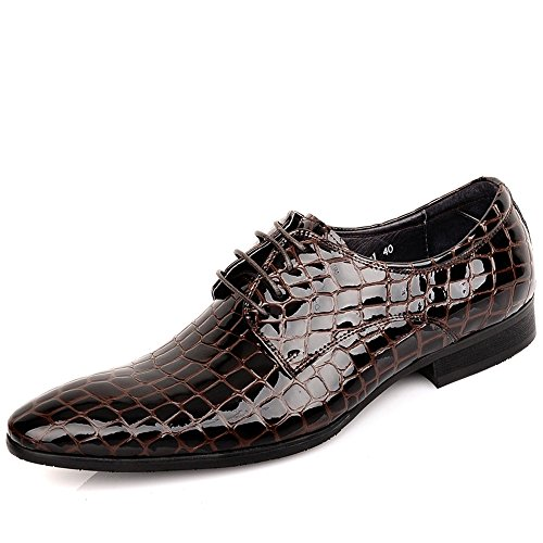 Fulinken Mens Pelle Classico Plaid Oxford Lace Up Scarpe Scarpe Da Sera Formali Marrone Lucido