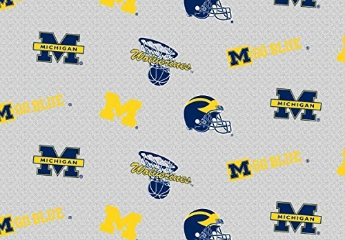 Sykel Enterprises 0317702 Collegiate Sweatshirt Fleece University of Michigan Heather Fabric by The Yard, Grey ()
