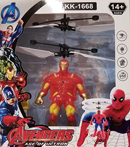 Gsmatt RC Helicopter Flying Toys Minion Avengers Heroes Drone Remote Control Aircraft Toy with Led Birthday for Children Kids (Iron Man)