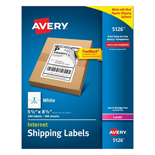 Avery Internet Shipping Labels for Laser Printers, True Block Technology, 5.5 x (Laser Printer Label Sheets)