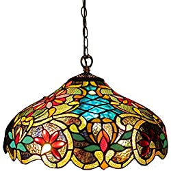 Chloe Lighting CH1A674VB18-DH2 Leslie, Tiffany-Style Victorian 2-Light Ceiling Pendant Fixture, 18-Inch, Multi-colored
