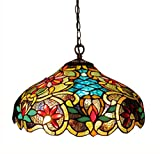 Chloe Lighting CH1A674VB18-DH2 Leslie Tiffany-Style Victorian 2-Light Ceiling Pendant Fixture - 12 x 18 x 18