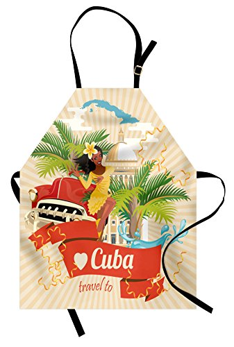 (Lunarable Havana Apron, Cuban Culture and Attractions Concept Smiling Local Lady on Classic Car Among Palms, Unisex Kitchen Bib Apron with Adjustable Neck for Cooking Baking Gardening,)