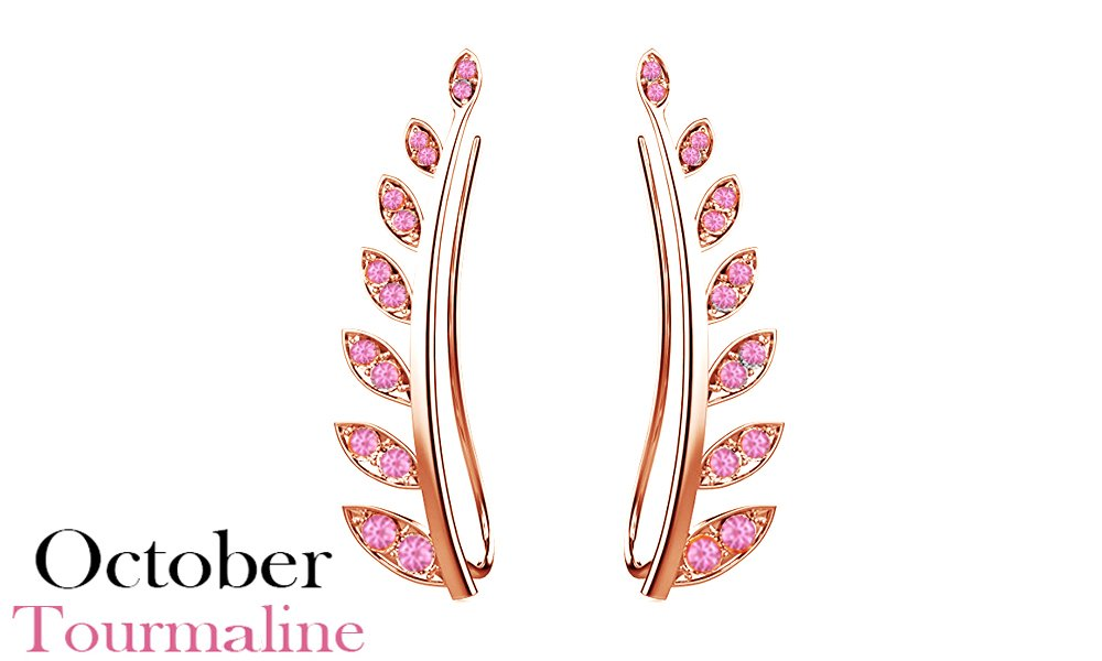 Valentine's Day Gifts Simulated Light Pink Tourmaline Ear Crawler Cuff Earrings 14k Rose Gold Over Sterling Silver Climber Studs Olive Leaf