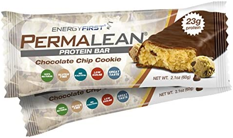 Permalean Chocolate Chip Cookie Whey Protein Isolate Bars 23g Protein Per Bar Gluten Free Non-GMO 4g Sugar 100 Natural Low Carb High Fiber Bars – Box of 12 by EnergyFirst