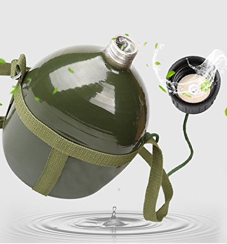 BlueSunshine Full Military Aluminium Chinese PLA Type 87 Water Canteen With Reinforced Nylon Belt Holster-Portable Hiking And Camping Outdoor Water/Wine Bottles (Army Green) (2.5 ()