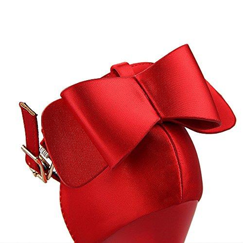 Hohlen mit Schuhe Flachen Band Bogen Mund Satin schöne Wies Süße Xiaoqi LIANGXIE Sandalen Hochhackigen Rot Etqwx