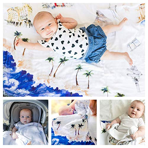 Baby Blanket Hollywood California 8 Layers Luxury Bamboo Organic Cotton Quilt Toddler Boy Girl -