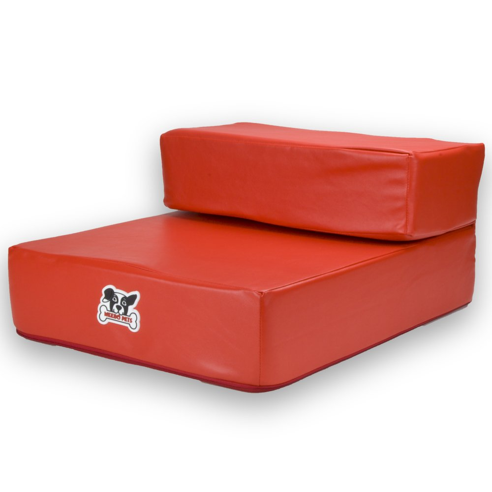 Smooth Steps Folding Leather Pet Stairs by Weebo Pets (Red)