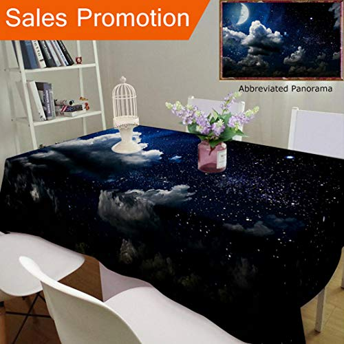 (Unique Design Cotton and Linen Blend Tablecloth Apartment Decor Celestial Solar Night Scene Stars Moon and Clouds Heaven Place in Cosmos ThCustom Tablecovers for Rectangle Tables, Small Size 48