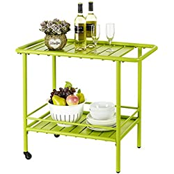 Finnhomy On Sale Garden Service Cart Display Potting Serving Utility Storage Kitchen Food Beverage Bar Potting Bench Working Center Outdoor Patio Pool Dining Mobile Rolling Wheel 2 Tier Metal Green