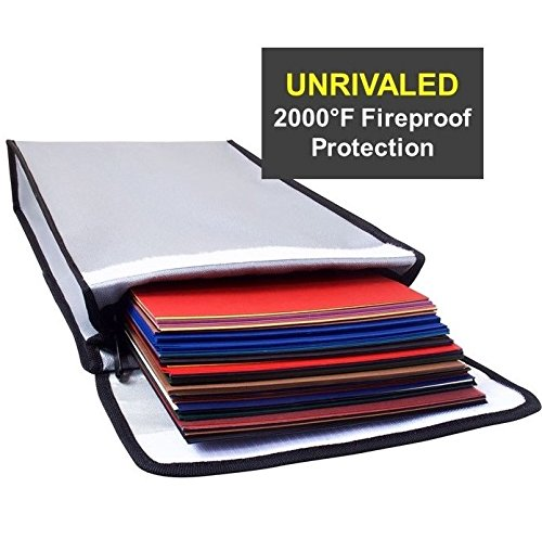 2000°F Fireproof Bag Water Proof Money Document Holder - Peace of Mind Security - Foldable for Fire Safe and Fire Box or Grab n Go Storage Battery Cash Legal Passport (15