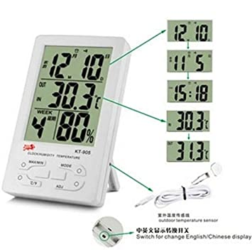 AFGD Termómetro Digitatermómetro Digital para Uso Industrial, Sonda De Temperatura En Interiores Y Exteriores.