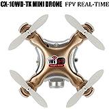 Cheerson CX-10WD-TX Mini Wifi FPV Quadcopter Drone With HD Camera High Hold Mode 2.4G 6-axis Remote Control Nano Quadcopter RTF Mode Switch (Golden)