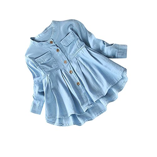 Denim Ruched Long Sleeve T-Shirt MITIY Fall Toddler Kid Baby Girls Tops Blouse Clothing (6T, Blue)