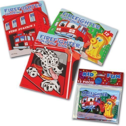 Assorted Fireman Fire Engine Mini Coloring Books (4-Pack of 12)