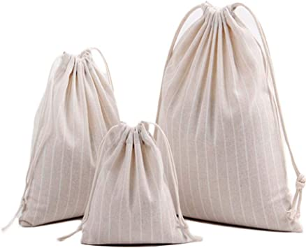 Cotton Linen Drawstring Small Bag Storage Travel Packaging Pouch-Stripe Red