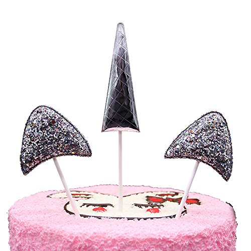 50 Packs PU Sparkling Unicorn Three-Piece Suit Cupcake Toppers Mini Glitter Birthday Cake Decoration for Birthday Parties for Wedding Bridal Shower Decorations Or Party (Color : Silver)