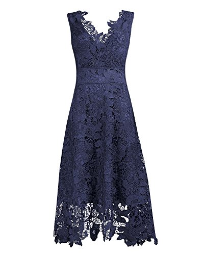 eck Navy Blue Floral Lace Cocktail Evening Midi Dress(N,XL) ()