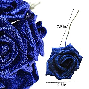 Lmeison Artificial Flower Rose 50pcs Real Looking Artificial Roses w/Stem for Bridal Wedding Bouquets Centerpieces Baby Shower DIY Party Home D¨¦cor 2