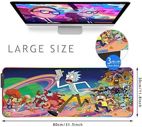 Bimormat RGB Gaming Mouse Pad Large Mouse Mat, 31.5 X 11.8 Inch Extra LED Extended Mousepad, Non-Slip Rubber Base Mouse Keyboard Mat (80×30 Rikrun) 51Y5wJKVKDL