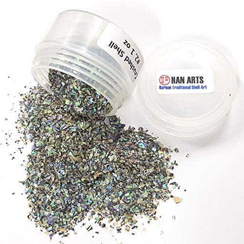 Natural Paua Blue Mother of Pearl Crushed Flake Shell Inlay Supplies for woodcrafts, luthiers and Hobbies (1oz-Rough Size) (Paua Shell Inlay)