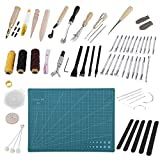 60PCS Leather Craft Hand Sewing Stitching Punch Carving Measure Polishing Tools Kit DIY Hand Tool