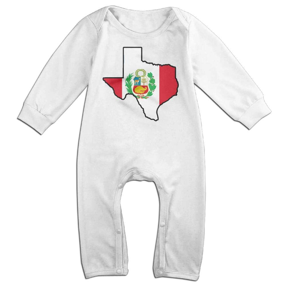 Mri-le1 Newborn Baby Long Sleeved Coveralls Peru Flag Texas Map Baby Rompers