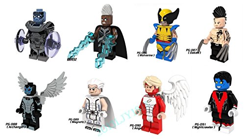 Cyclops X Men First Class Costumes (Shalleen 8PCS Set X-Men Figures Wolverine Angel Archangel Darken Nightcrawler Blocks Toys)