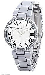 Anne Klein Women's Silver Dial Crystal Encrusted Bezel Bracelet Watch AK/1711SVSV