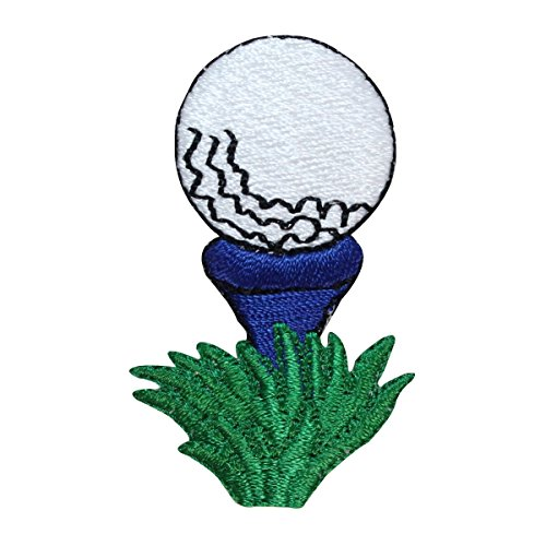 ID 1595B Golf Ball On Tee Patch Blue Green Drive Embroidered Iron On Applique