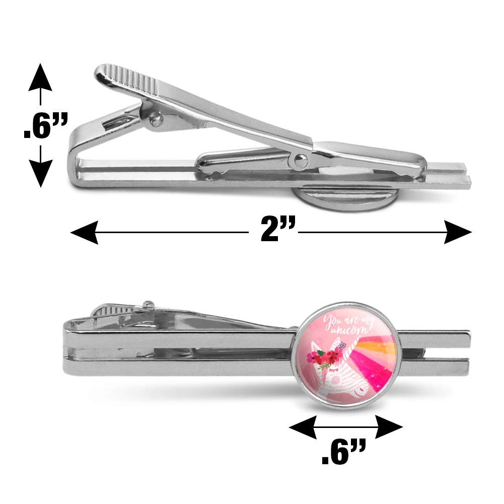 GRAPHICS /& MORE You are My Unicorn Flowers Rainbow Horn Round Tie Bar Clip Clasp Tack Silver Color Plated