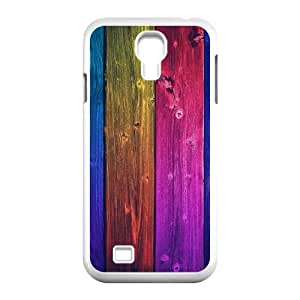 Samsung Galaxy S4 Case,Colorful Wood Tiles Vertical Hard Shell Back Case for White Samsung Galaxy S4 Okaycosama495970