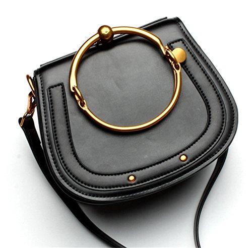 La mujer Xinmaoyuan Bolsos Bolso De cuero simple anillo metálico hembra Paquete Portasilla hombro bolsa bandolera,azul Negro