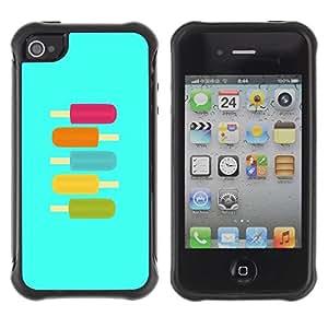 "Pulsar iFace Series Tpu silicona Carcasa Funda Case para Apple iPhone 4 / iPhone 4S , Ice-Cream trullo púrpura verano verde dulce"""