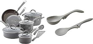 Rachael Ray Cucina Nonstick Cookware Pots and Pans Set, 12 Piece, Sea Salt Gray & Ray 2 Piece Tools & Gadgets Lazy Tools Set, Sea Salt Gray