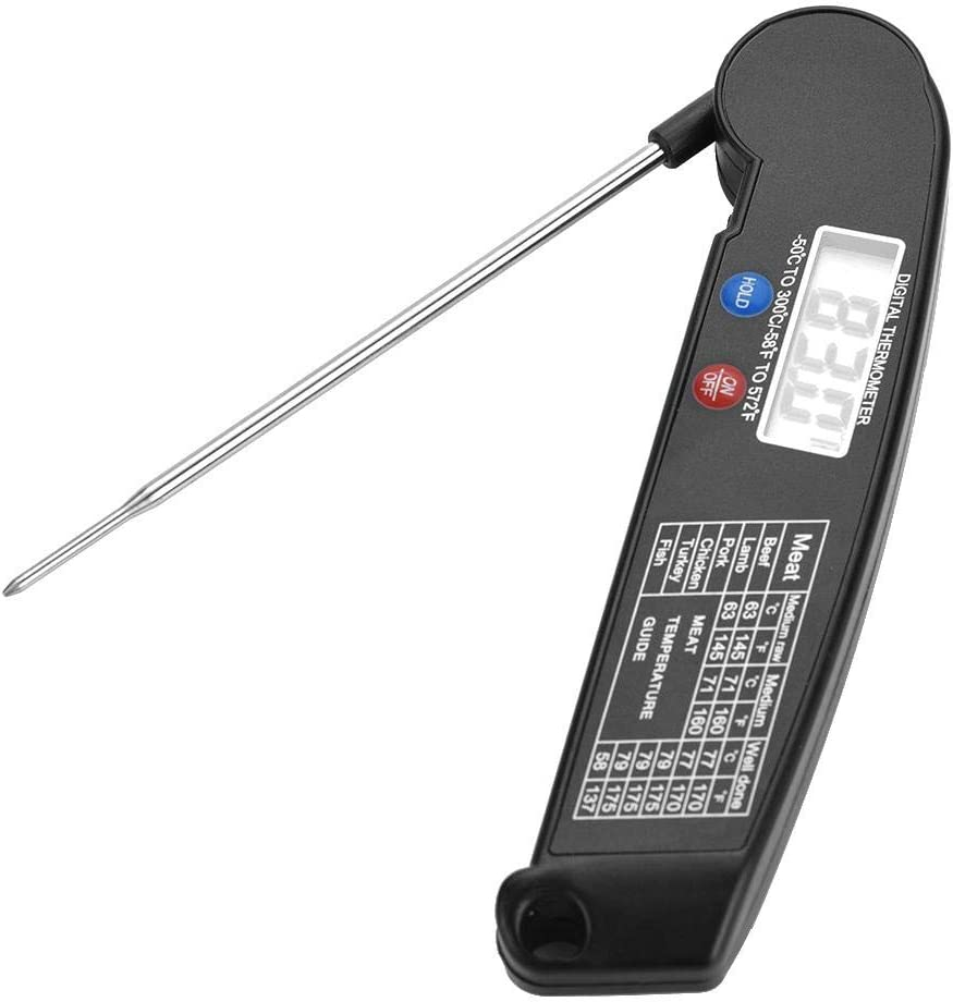 LCD Digital Food Meat Thermometer with Folding Probe Turkey Fish Beef Taste Selectable Kitchen Cooking BBQ Grill Temp Tester(Black)