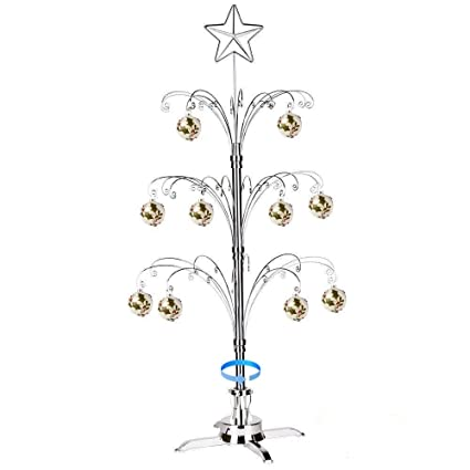 hohiya artificial christmas tree rotating metal ornament decorations stand 60 hooks 3 to 4 feet - Metal Christmas Decorations
