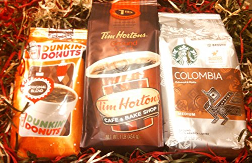 The 3 Kings of Coffee Tim Horton's, Dunkin' Donuts, Starbucks, Holiday Gift package