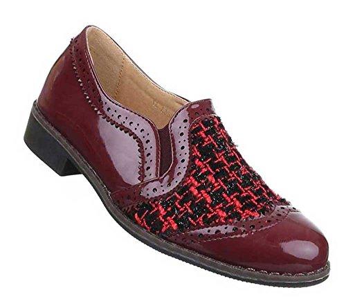 Damen Halbschuhe Schuhe Stretch Slipper Loafers Schwarz Rot