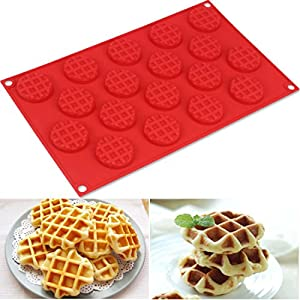 ZJCilected 18-Cavity Non-Stick Silicone Mini Round Waffle, Cookie, Chocolate, Candy and Ice Mold