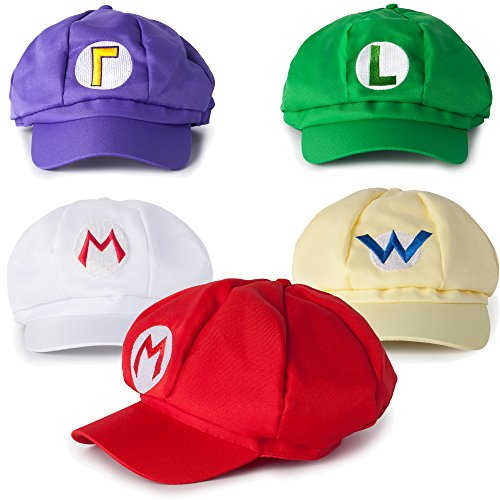 Super Mario Kart Hats: Mario, Luigi, Wario, Waluigi and Fire Mario Caps for Halloween Costumes: Unisex Cosplay (5 Pack)